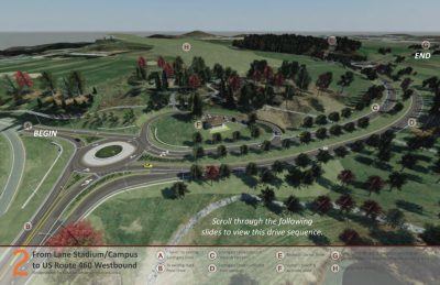 An aerial overview of the new roundabout at the intersection of Southgate Drive and Duck Pond Drive. Rendering provided by VDOT.