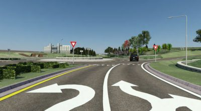 Approaching the new roundabout at the intersection of Southgate Drive and Duck Pond Drive heading towards Lane Stadium. Rendering provided by VDOT.