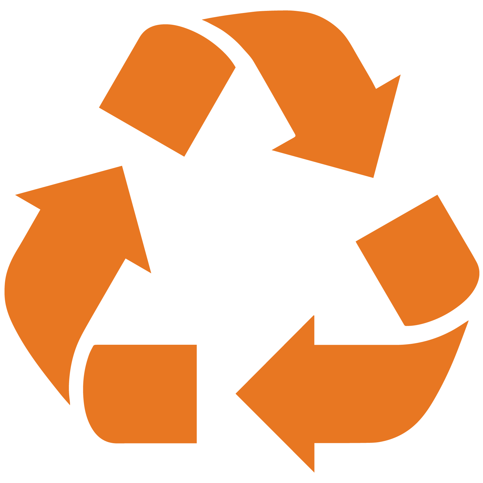 Orange icon of rounded bent arrows forming almost a triangle in the symbol for recycling