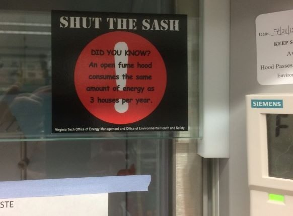 'Shut the Sash' Sticker in Hahn Hall North
