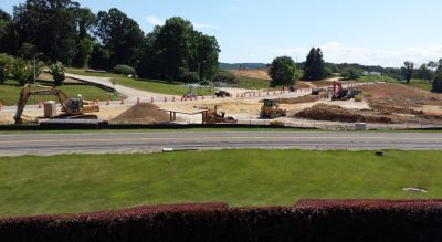 Overlooking Southgate Drive at the Virginia Tech Bush during construction.