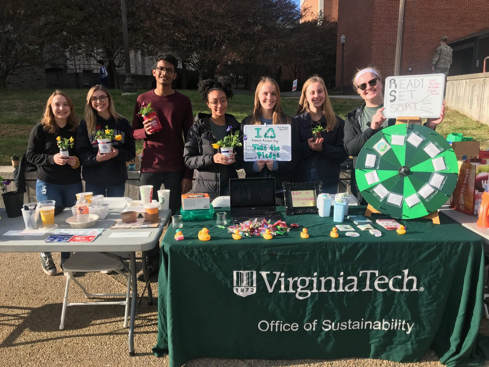 Waste Team Tables for America Recycles Day