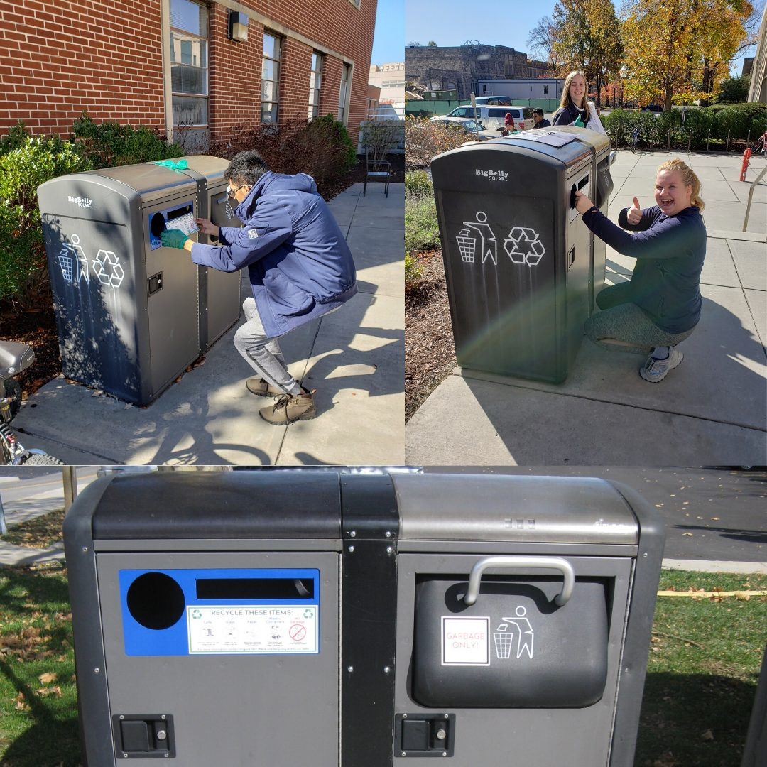 Our 2019-2020 Waste Team updated the stickers on every Big Belly waste container on campus to be more informative!