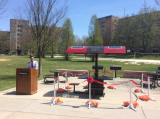 Solar powered charging table located in the residence area between Pritchard and Peddrew-Yates residence halls