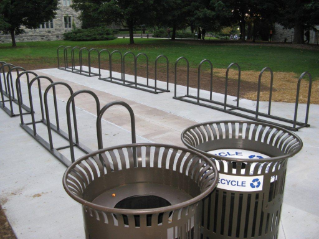 Bike corral and waste management containers at Pamplin Hall