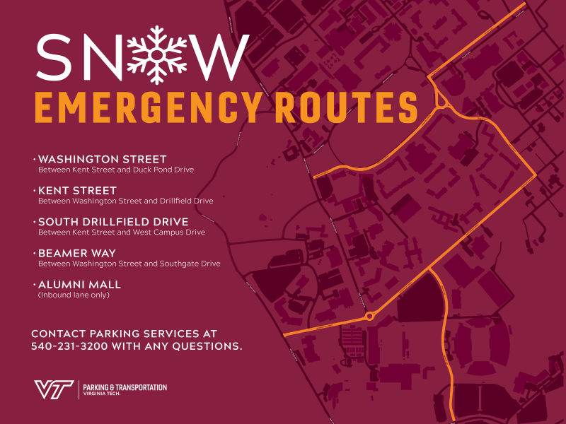 emergency snow routes on campus