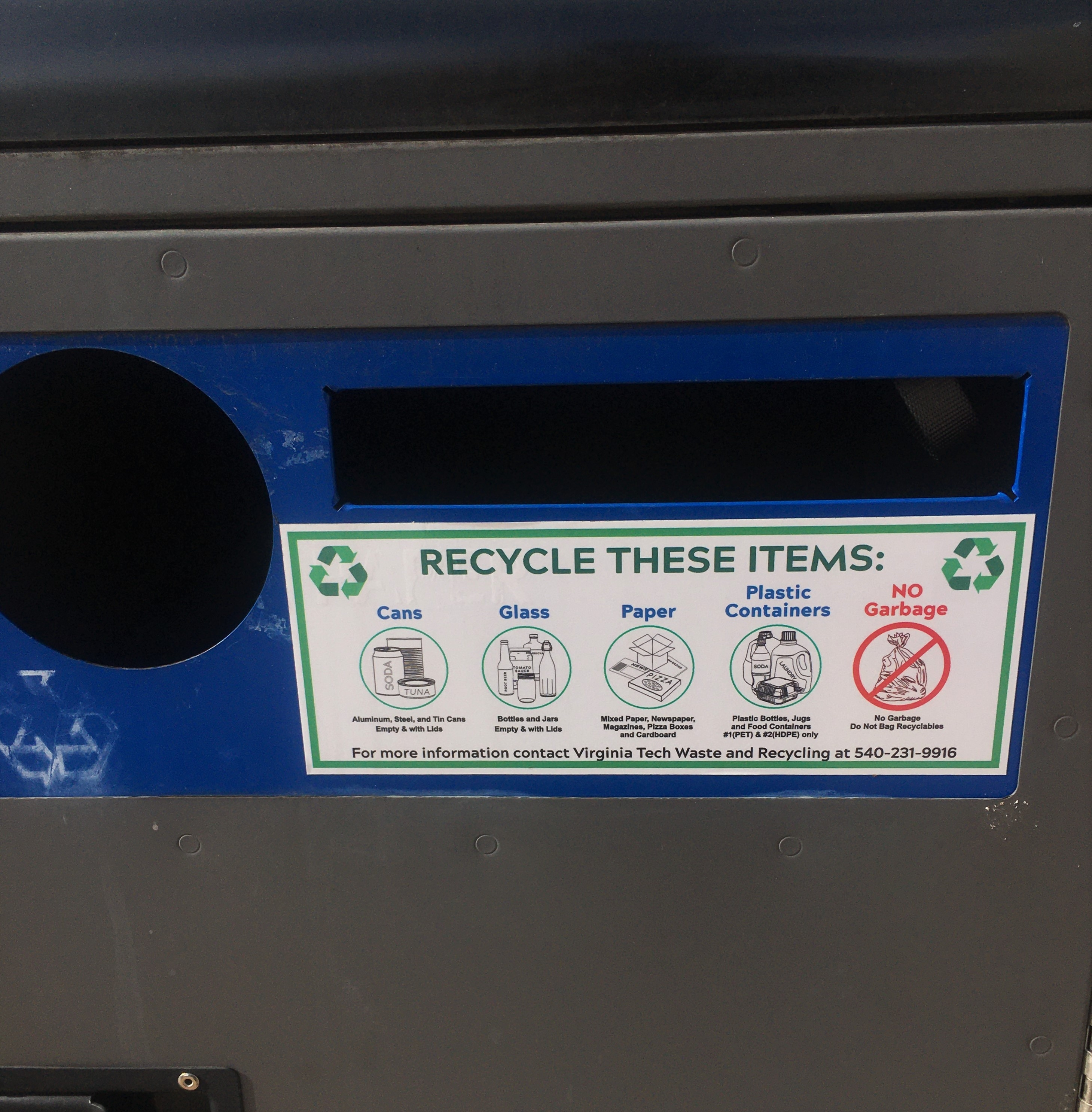 recycling bin on campus